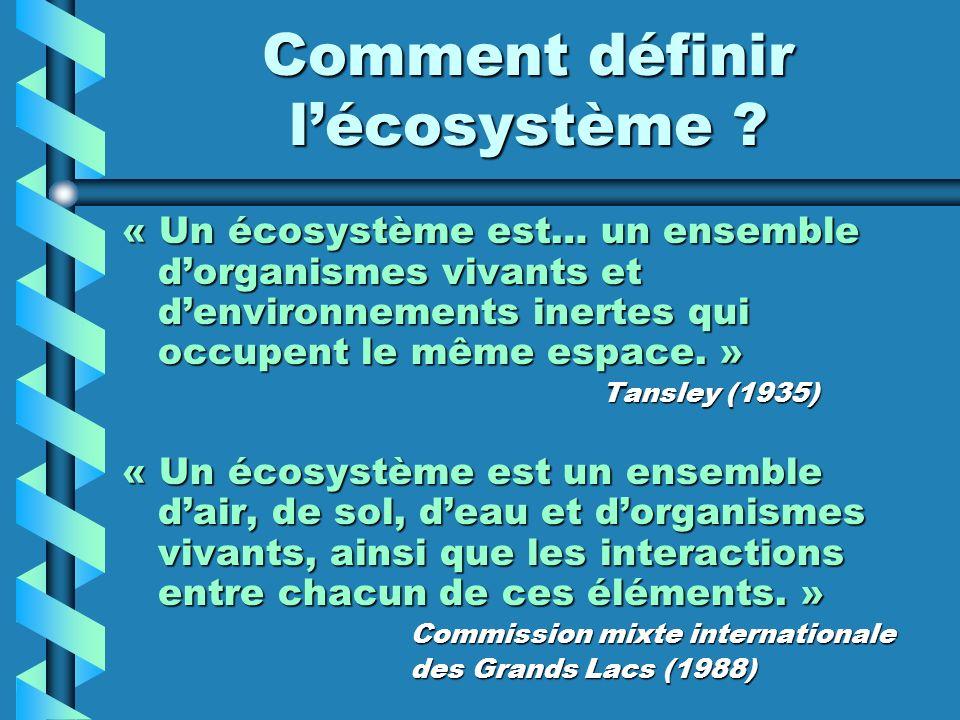 Comment définir lécosystème ? « Un écosystème est… un ensemble dorganismes vivants et denvironnements inertes qui occupent le même espace. » Tansley (