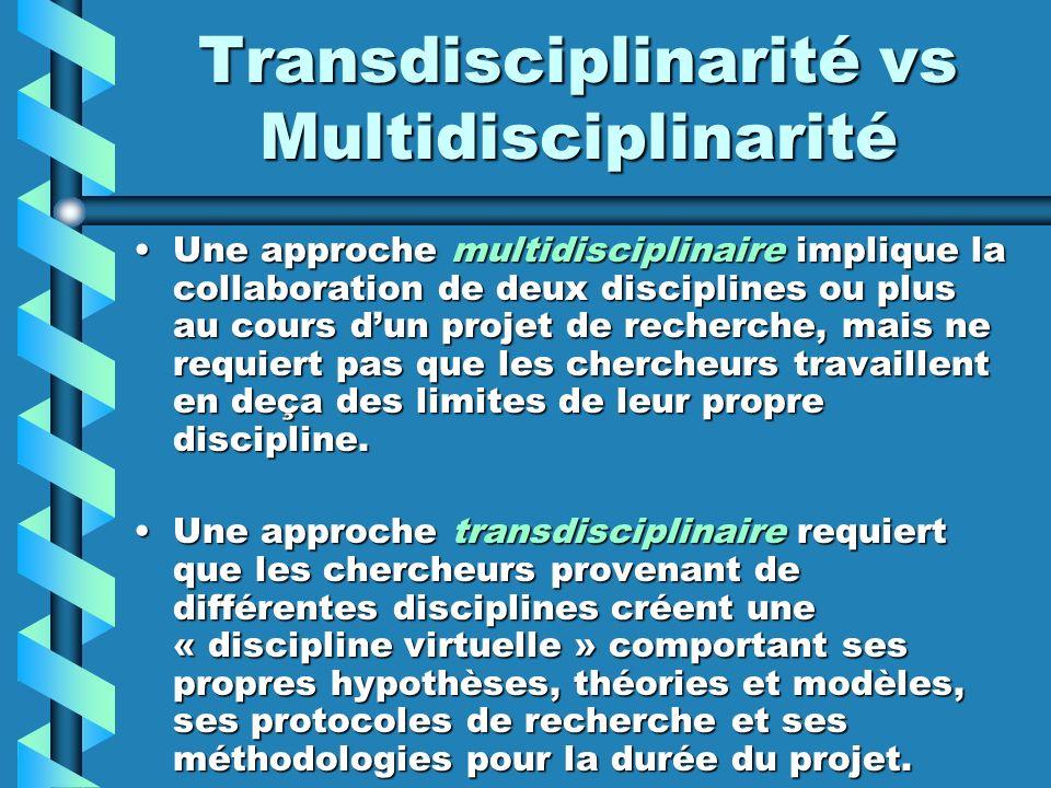 Transdisciplinarité vs Multidisciplinarité Une approche multidisciplinaire implique la collaboration de deux disciplines ou plus au cours dun projet d
