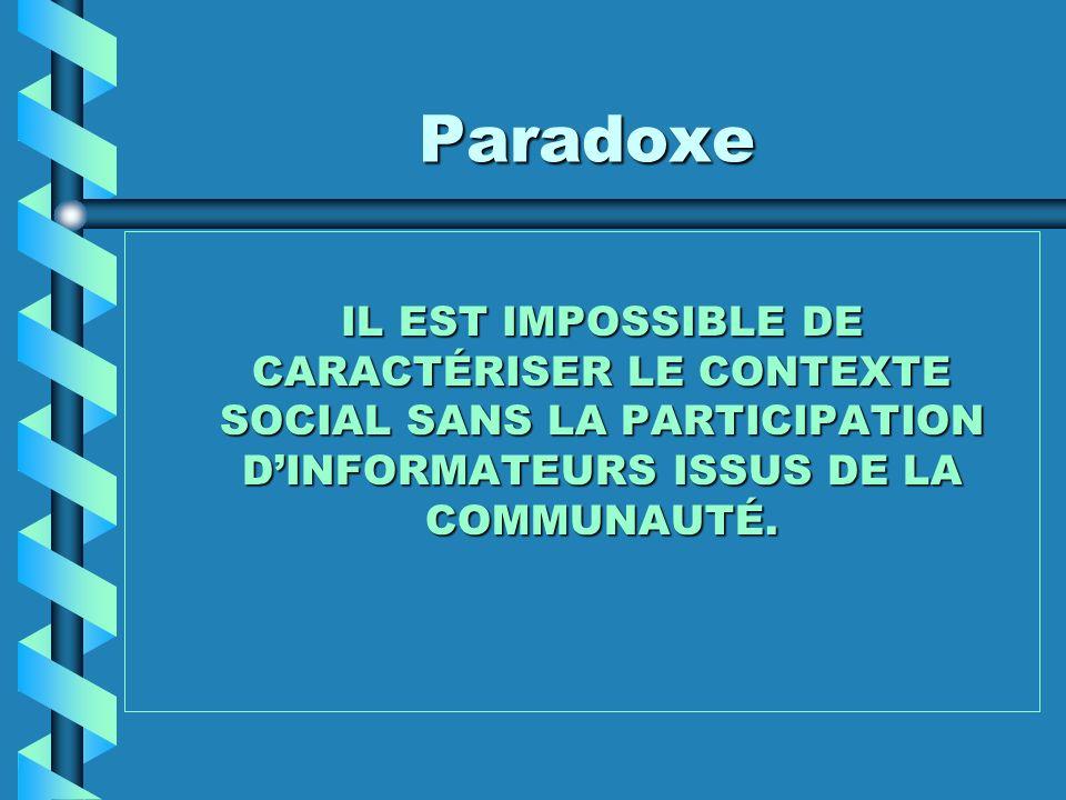 Paradoxe IL EST IMPOSSIBLE DE CARACTÉRISER LE CONTEXTE SOCIAL SANS LA PARTICIPATION DINFORMATEURS ISSUS DE LA COMMUNAUTÉ.