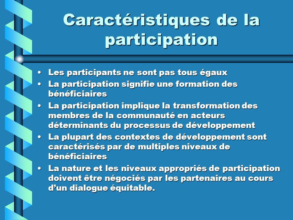 Caractéristiques de la participation Les participants ne sont pas tous égauxLes participants ne sont pas tous égaux La participation signifie une form