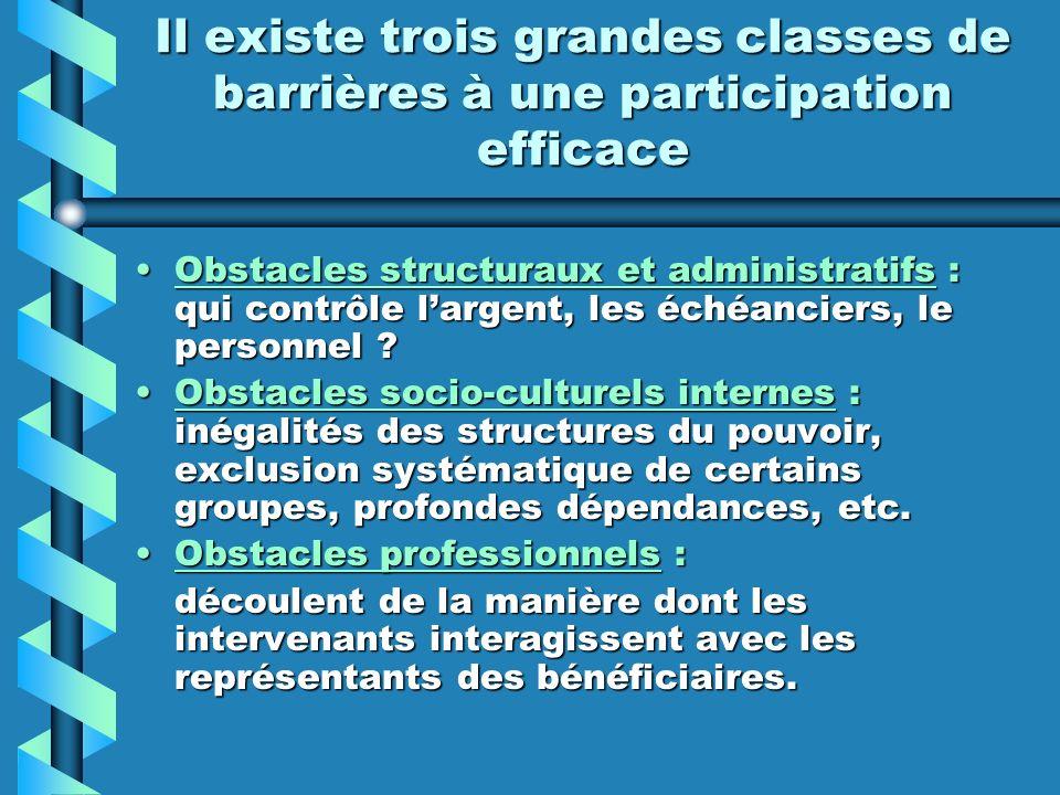 Il existe trois grandes classes de barrières à une participation efficace Obstacles structuraux et administratifs : qui contrôle largent, les échéanci