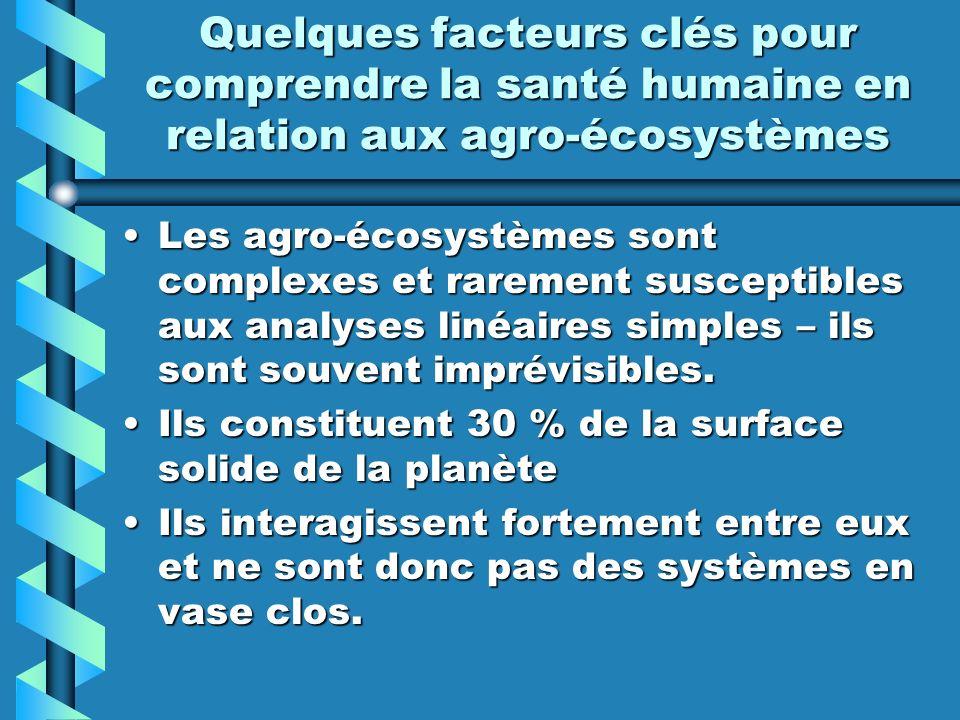 Quelques facteurs clés pour comprendre la santé humaine en relation aux agro-écosystèmes Les agro-écosystèmes sont complexes et rarement susceptibles