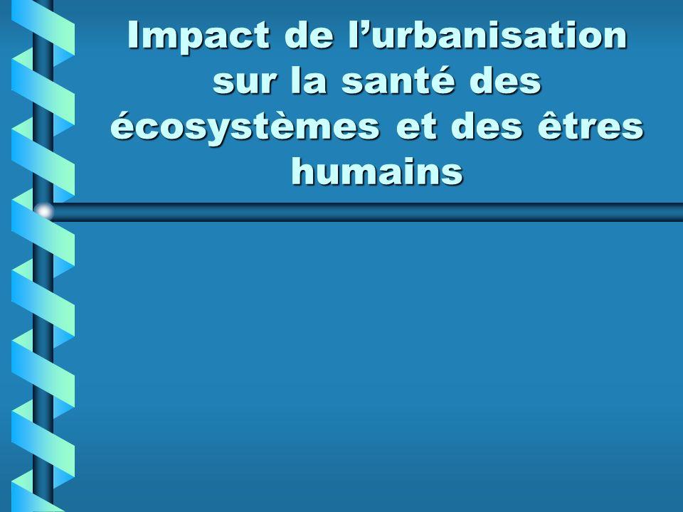 Impact de lurbanisation sur la santé des écosystèmes et des êtres humains