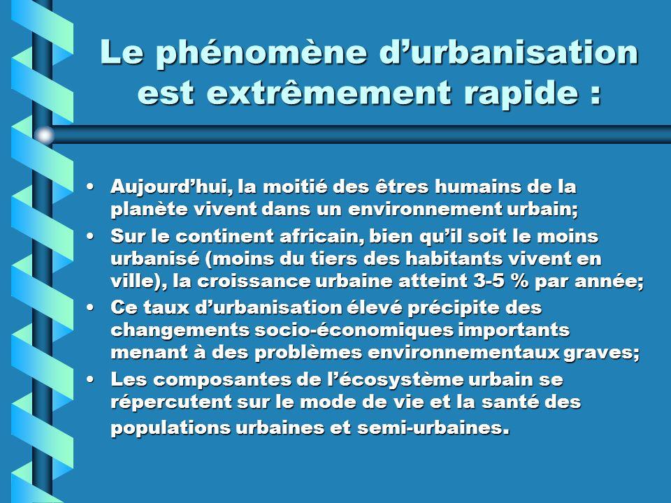 Le phénomène durbanisation est extrêmement rapide : Aujourdhui, la moitié des êtres humains de la planète vivent dans un environnement urbain;Aujourdh