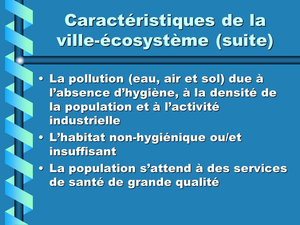 Caractéristiques de la ville-écosystème (suite) La pollution (eau, air et sol) due à labsence dhygiène, à la densité de la population et à lactivité i