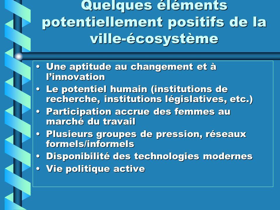 Quelques éléments potentiellement positifs de la ville-écosystème Une aptitude au changement et à linnovationUne aptitude au changement et à linnovati