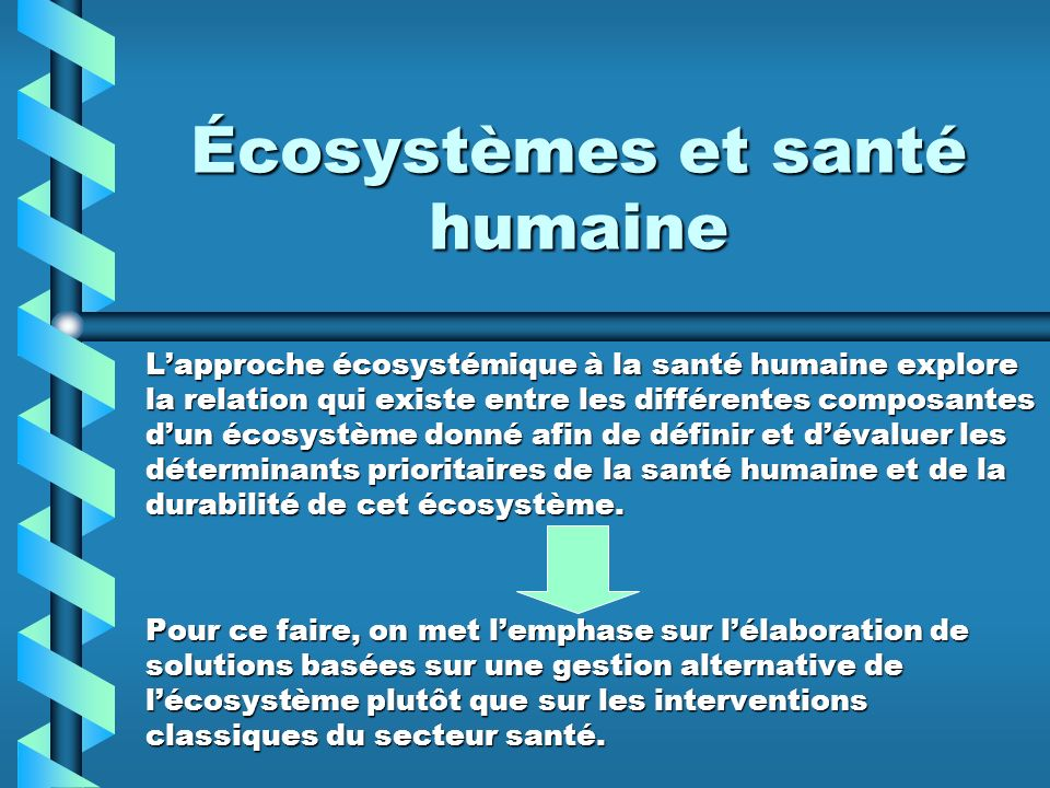 Écosystèmes et santé humaine Lapproche écosystémique à la santé humaine explore la relation qui existe entre les différentes composantes dun écosystèm