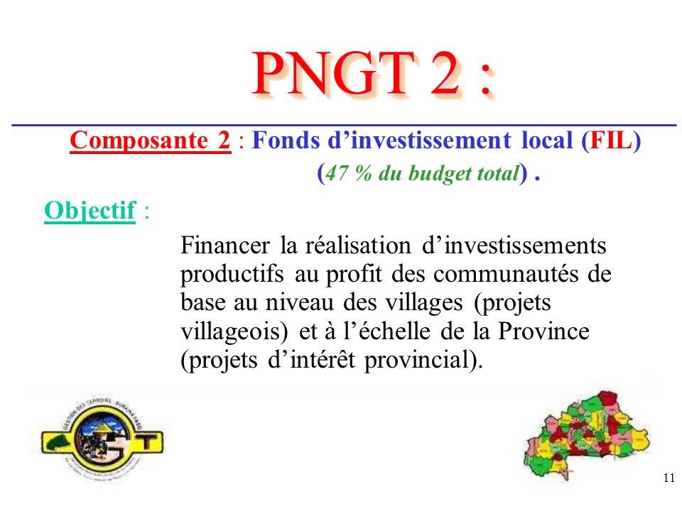 11 Composante 2 : Fonds dinvestissement local (FIL) ( 47 % du budget total ). Objectif : PNGT 2 : Financer la réalisation dinvestissements productifs