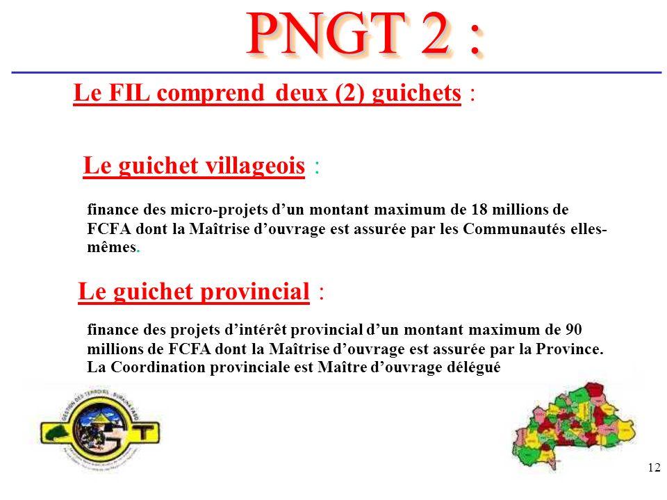 12 finance des micro-projets dun montant maximum de 18 millions de FCFA dont la Maîtrise douvrage est assurée par les Communautés elles- mêmes. PNGT 2
