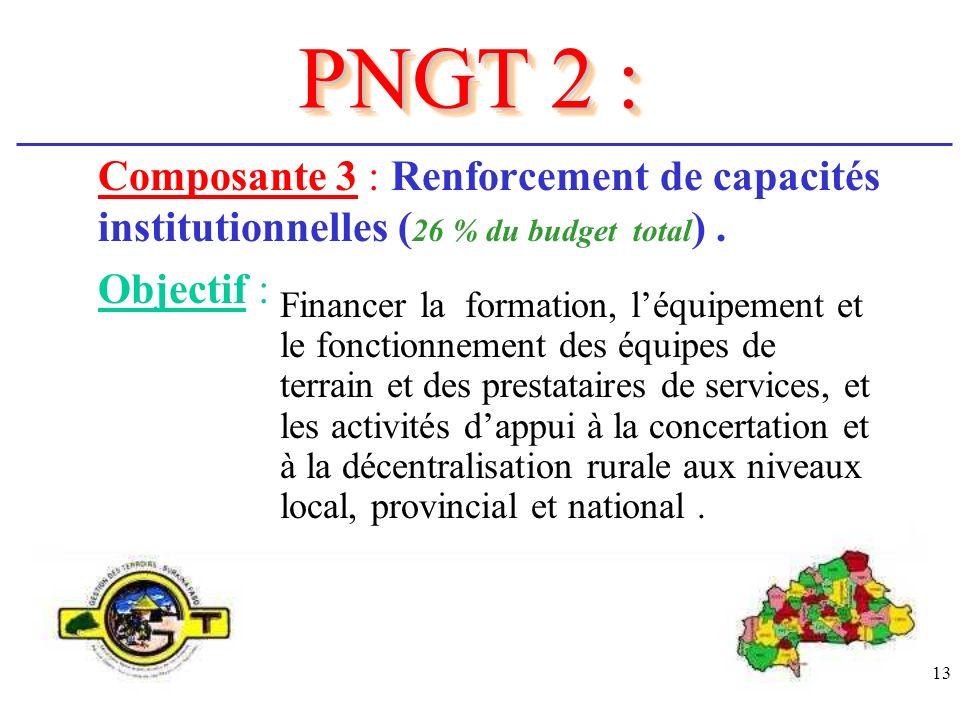 13 Composante 3 : Renforcement de capacités institutionnelles ( 26 % du budget total ). Objectif : PNGT 2 : Financer la formation, léquipement et le f