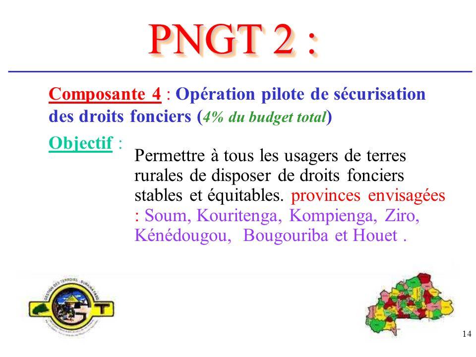 14 Composante 4 : Opération pilote de sécurisation des droits fonciers ( 4% du budget total ) Objectif : Permettre à tous les usagers de terres rurale