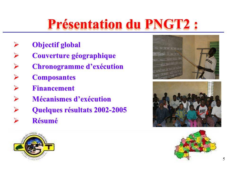 5 Présentation du PNGT2 : Objectif global Objectif global Couverture géographique Couverture géographique Chronogramme dexécution Chronogramme dexécut