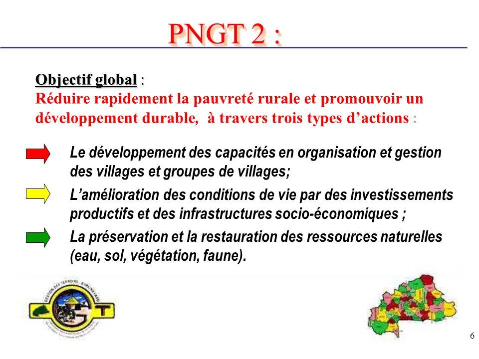 27 QUELQUES RESULTATS Au niveau du FIL Lappui à la mise en œuvre des projets villageois et inter villageois constitue un pan important dans la stratégie de mise en œuvre du PNGT2.