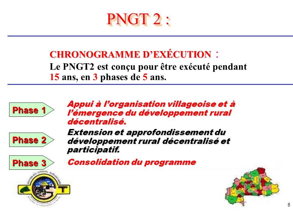 8 CHRONOGRAMME DEXÉCUTION CHRONOGRAMME DEXÉCUTION : Le PNGT2 est conçu pour être exécuté pendant 15 ans, en 3 phases de 5 ans. PNGT 2 : Appui à lorgan