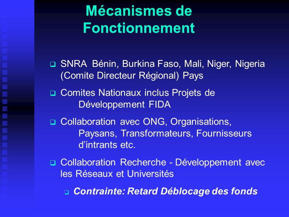 Mécanismes de Fonctionnement SNRA Bénin, Burkina Faso, Mali, Niger, Nigeria (Comite Directeur Régional) Pays Comites Nationaux inclus Projets de Développement FIDA Collaboration avec ONG, Organisations, Paysans, Transformateurs, Fournisseurs dintrants etc.