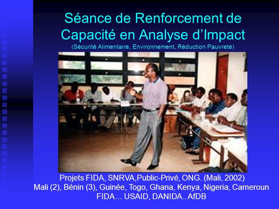 Séance de Renforcement de Capacité en Analyse dImpact (Sécurité Alimentaire, Environnement, Réduction Pauvreté) Projets FIDA, SNRVA,Public-Privé, ONG.