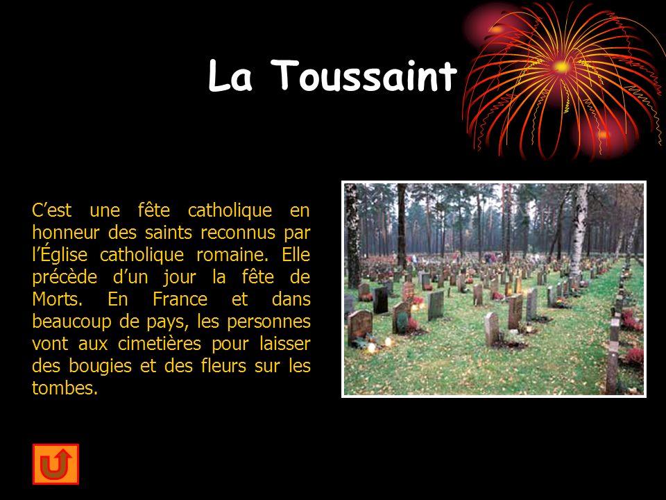 La Toussaint Cest une fête catholique en honneur des saints reconnus par lÉglise catholique romaine. Elle précède dun jour la fête de Morts. En France