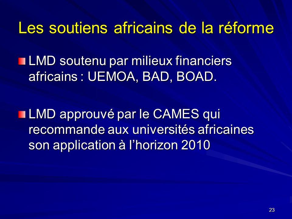 23 Les soutiens africains de la réforme LMD soutenu par milieux financiers africains : UEMOA, BAD, BOAD.