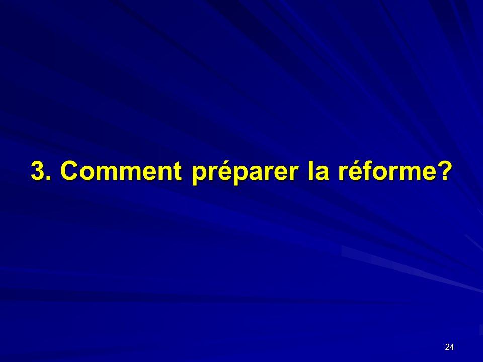 24 3. Comment préparer la réforme?