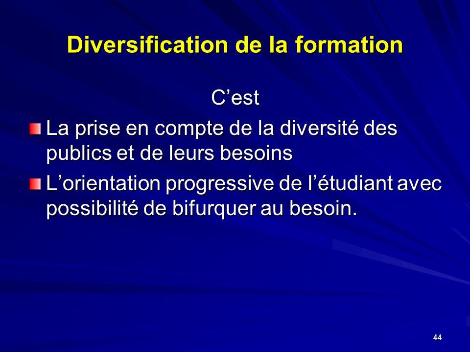 44 Diversification de la formation Cest La prise en compte de la diversité des publics et de leurs besoins Lorientation progressive de létudiant avec possibilité de bifurquer au besoin.