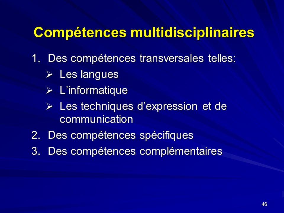 46 Compétences multidisciplinaires 1.Des compétences transversales telles: Les langues Les langues Linformatique Linformatique Les techniques dexpression et de communication Les techniques dexpression et de communication 2.Des compétences spécifiques 3.Des compétences complémentaires