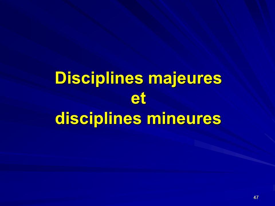 47 Disciplines majeures et disciplines mineures
