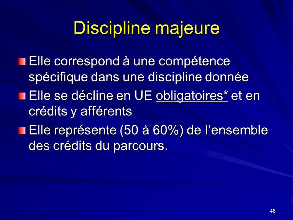 48 Discipline majeure Elle correspond à une compétence spécifique dans une discipline donnée Elle se décline en UE obligatoires* et en crédits y afférents Elle représente (50 à 60%) de lensemble des crédits du parcours.