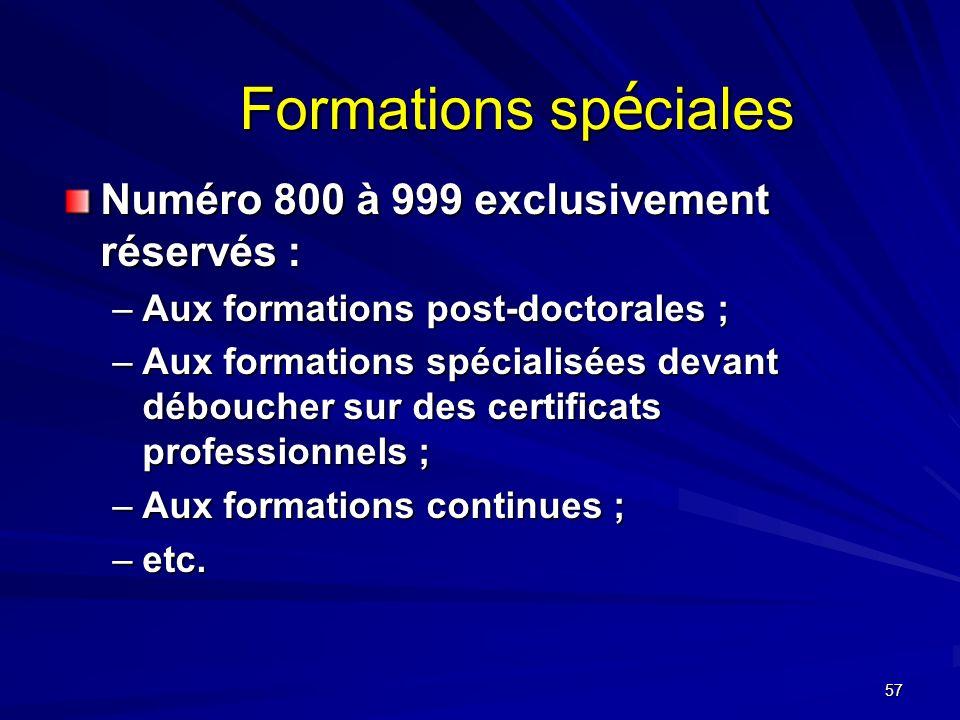 57 Formations sp é ciales Numéro 800 à 999 exclusivement réservés : –Aux formations post-doctorales ; –Aux formations spécialisées devant déboucher sur des certificats professionnels ; –Aux formations continues ; –etc.