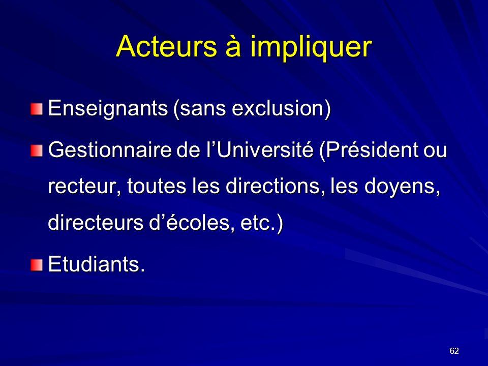 62 Acteurs à impliquer Enseignants (sans exclusion) Gestionnaire de lUniversité (Président ou recteur, toutes les directions, les doyens, directeurs décoles, etc.) Etudiants.