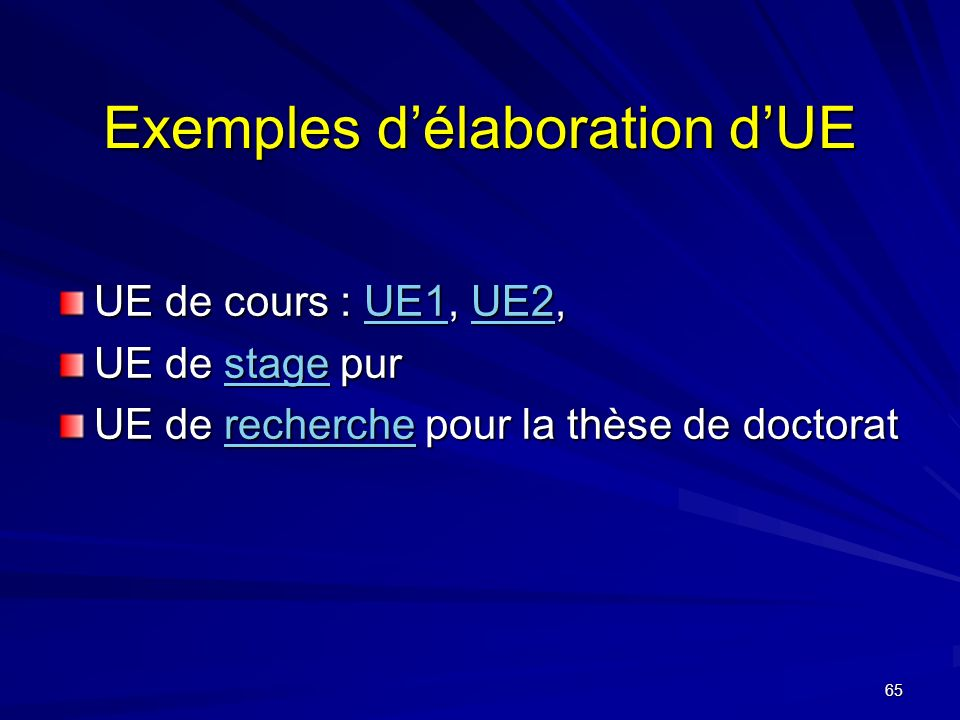 65 Exemples délaboration dUE UE de cours : UE1, UE2, UE1UE2UE1UE2 UE de stage pur stage UE de recherche pour la thèse de doctorat recherche
