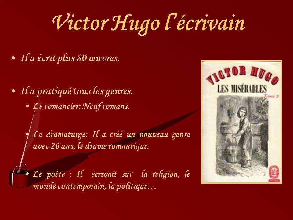 Victor Hugo lécrivain Il a écrit plus 80 œuvres. Il a pratiqué tous les genres. Le romancier: Neuf romans. Le dramaturge: Il a créé un nouveau genre a