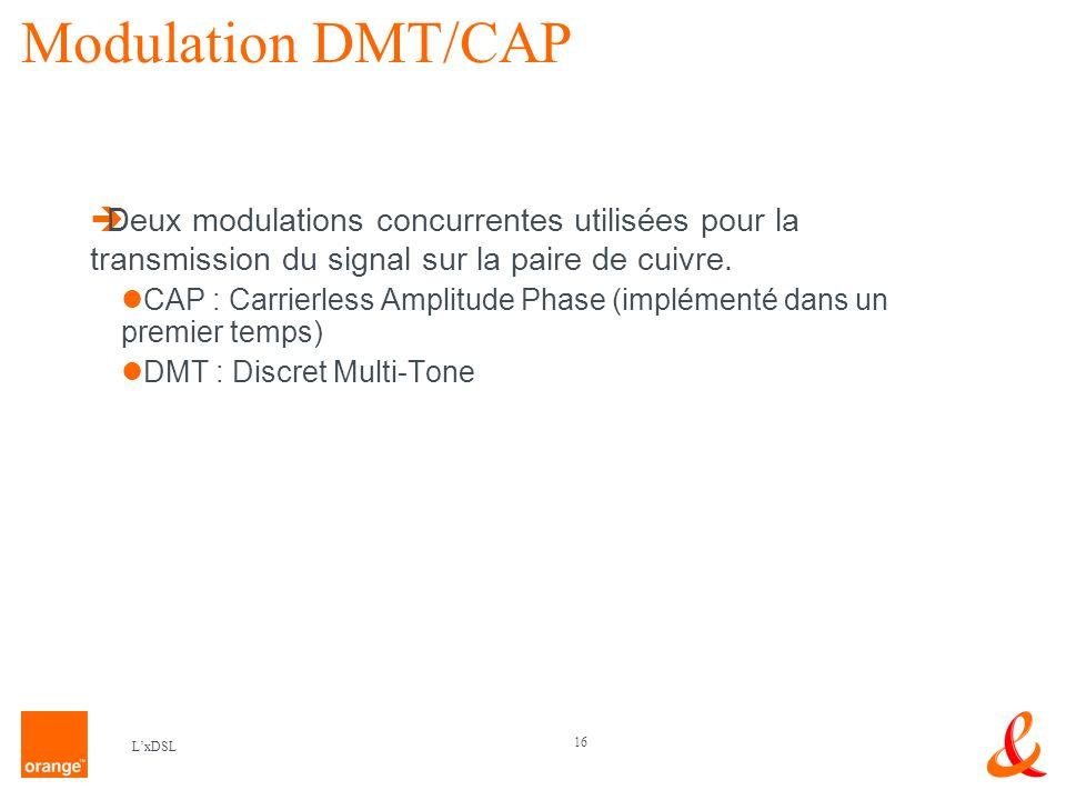 16 LxDSL Modulation DMT/CAP Deux modulations concurrentes utilisées pour la transmission du signal sur la paire de cuivre.