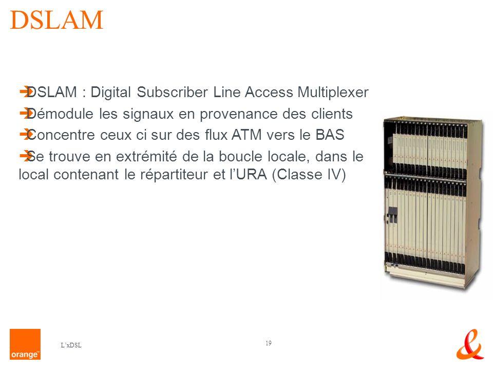19 LxDSL DSLAM DSLAM : Digital Subscriber Line Access Multiplexer Démodule les signaux en provenance des clients Concentre ceux ci sur des flux ATM vers le BAS Se trouve en extrémité de la boucle locale, dans le local contenant le répartiteur et lURA (Classe IV)