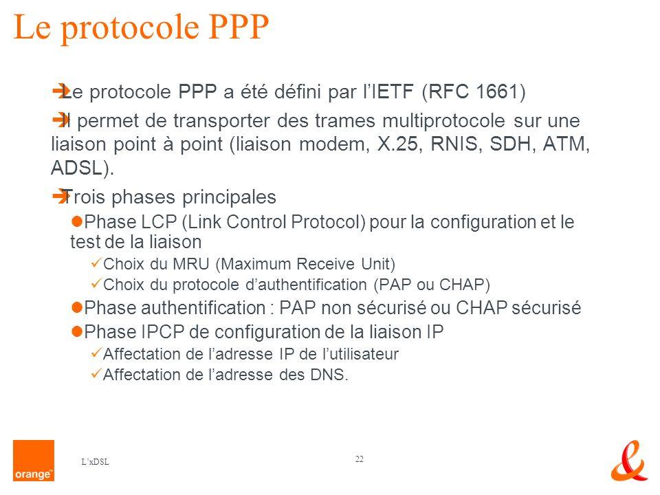 22 LxDSL Le protocole PPP Le protocole PPP a été défini par lIETF (RFC 1661) Il permet de transporter des trames multiprotocole sur une liaison point à point (liaison modem, X.25, RNIS, SDH, ATM, ADSL).