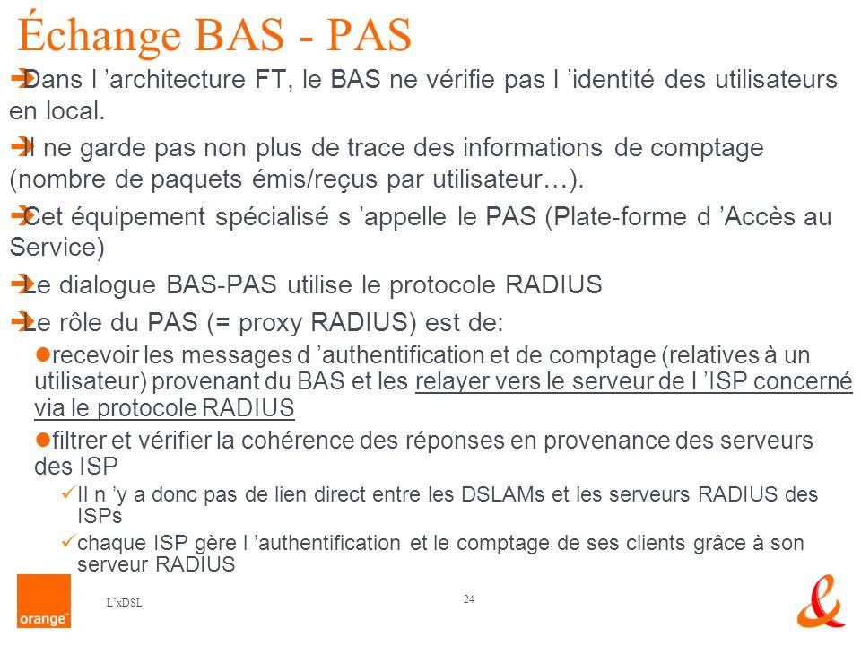 24 LxDSL Échange BAS - PAS Dans l architecture FT, le BAS ne vérifie pas l identité des utilisateurs en local.