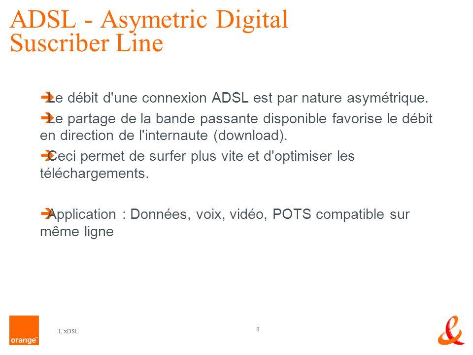 8 LxDSL ADSL - Asymetric Digital Suscriber Line Le débit d une connexion ADSL est par nature asymétrique.