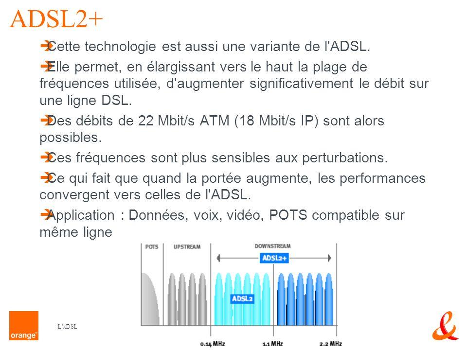 10 LxDSL READSL - Reach Extended DSL C est une version des technologies ADSL qui renforce la puissance d émission sur la partie basse des hautes fréquences incluant l upload et une partie du download.