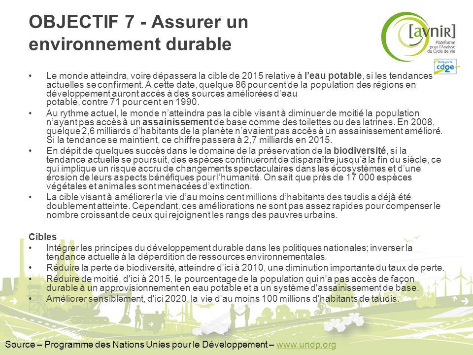 OBJECTIF 7 - Assurer un environnement durable Le monde atteindra, voire dépassera la cible de 2015 relative à leau potable, si les tendances actuelles