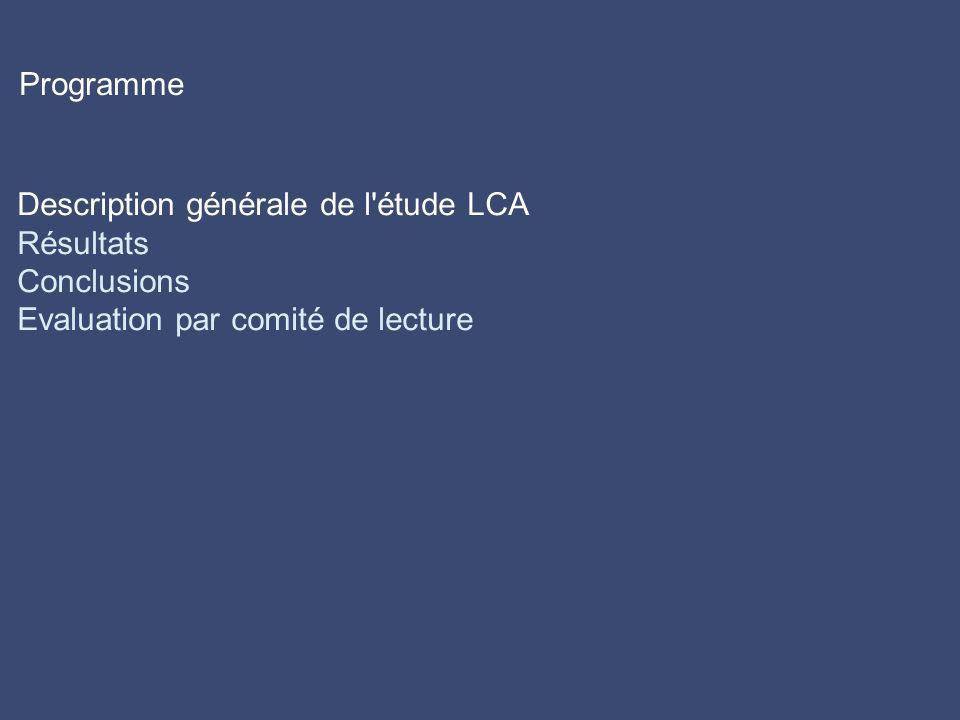 Programme Description générale de l étude LCA Résultats Conclusions Evaluation par comité de lecture