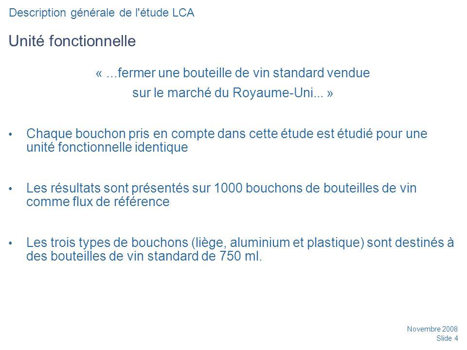 Novembre 2008 Slide 4 Unité fonctionnelle «...fermer une bouteille de vin standard vendue sur le marché du Royaume-Uni...