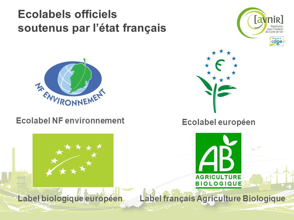 Ecolabels officiels soutenus par létat français Ecolabel européen Ecolabel NF environnement Label français Agriculture Biologique Label biologique eur
