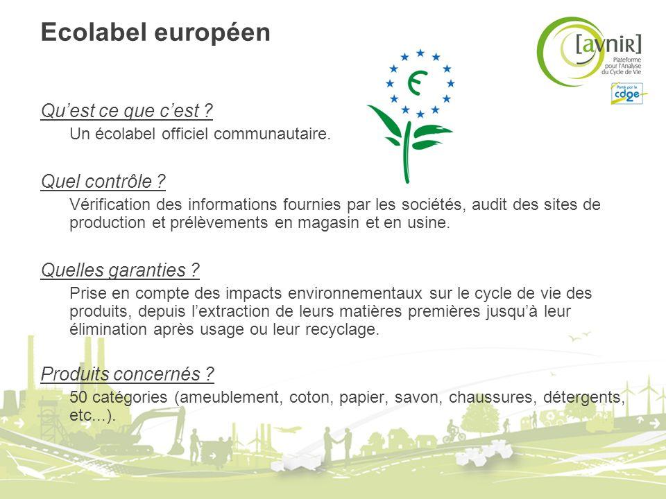 Ecolabel européen Quest ce que cest ? Un écolabel officiel communautaire. Quel contrôle ? Vérification des informations fournies par les sociétés, aud