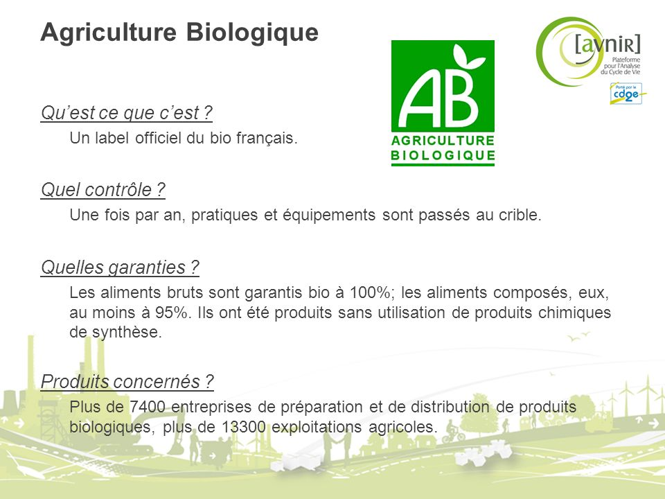 Agriculture Biologique Quest ce que cest ? Un label officiel du bio français. Quel contrôle ? Une fois par an, pratiques et équipements sont passés au