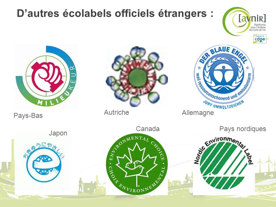 Dautres écolabels officiels étrangers : Pays-Bas Japon Autriche Canada Allemagne Pays nordiques