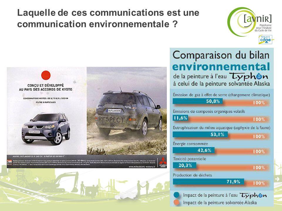 Laquelle de ces communications est une communication environnementale ?