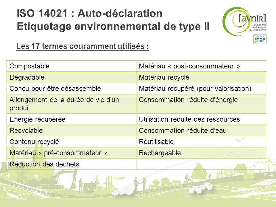 ISO 14021 : Auto-déclaration Etiquetage environnemental de type II Les 17 termes couramment utilisés : CompostableMatériau « post-consommateur » Dégra