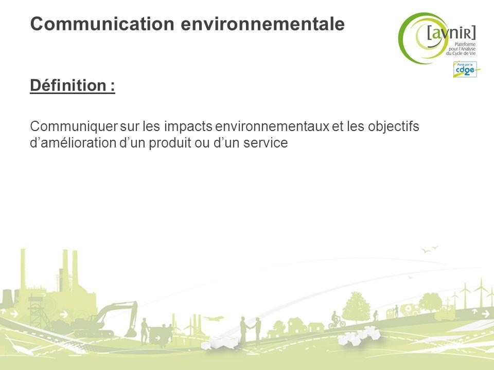 Communication environnementale Définition : Communiquer sur les impacts environnementaux et les objectifs damélioration dun produit ou dun service