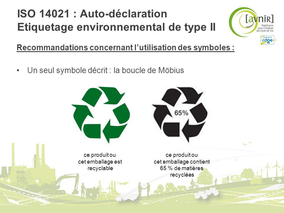 ISO 14021 : Auto-déclaration Etiquetage environnemental de type II Recommandations concernant lutilisation des symboles : Un seul symbole décrit : la