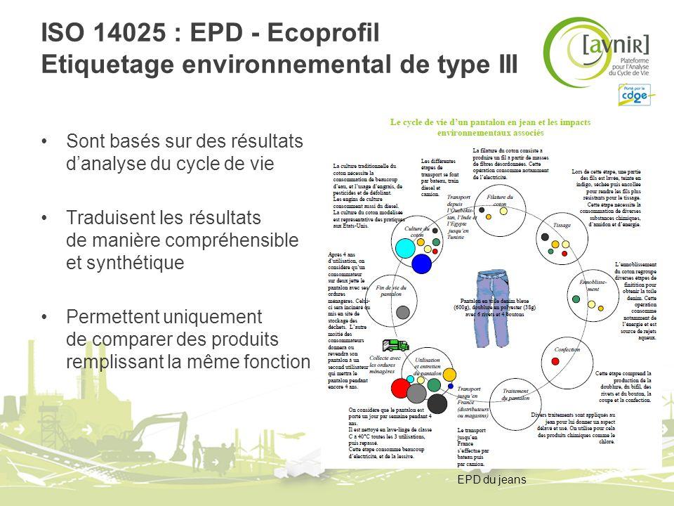 ISO 14025 : EPD - Ecoprofil Etiquetage environnemental de type III Sont basés sur des résultats danalyse du cycle de vie Traduisent les résultats de m