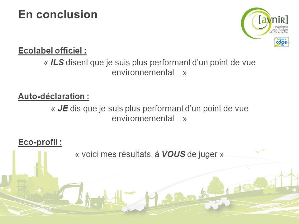 En conclusion Ecolabel officiel : « ILS disent que je suis plus performant dun point de vue environnemental... » Auto-déclaration : « JE dis que je su